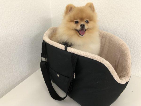 Hundetasche schwarz beige